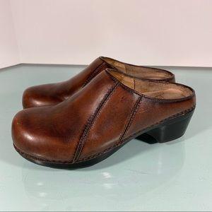 Dansko Slip On Mule Clog Antique Brown Leather
